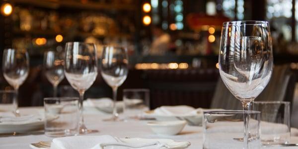 Restaurant Dinner Table with Wine Glasses